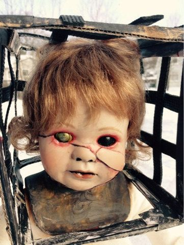 The Jackal, Altered, horror, porcelain doll, 13 Ghosts, creepy, horror movies, DIY, gift by OblivionLeatherCraft  https://www.etsy.com/ca/listing/221826049/the-jackal-altered-horror-porcelain-doll