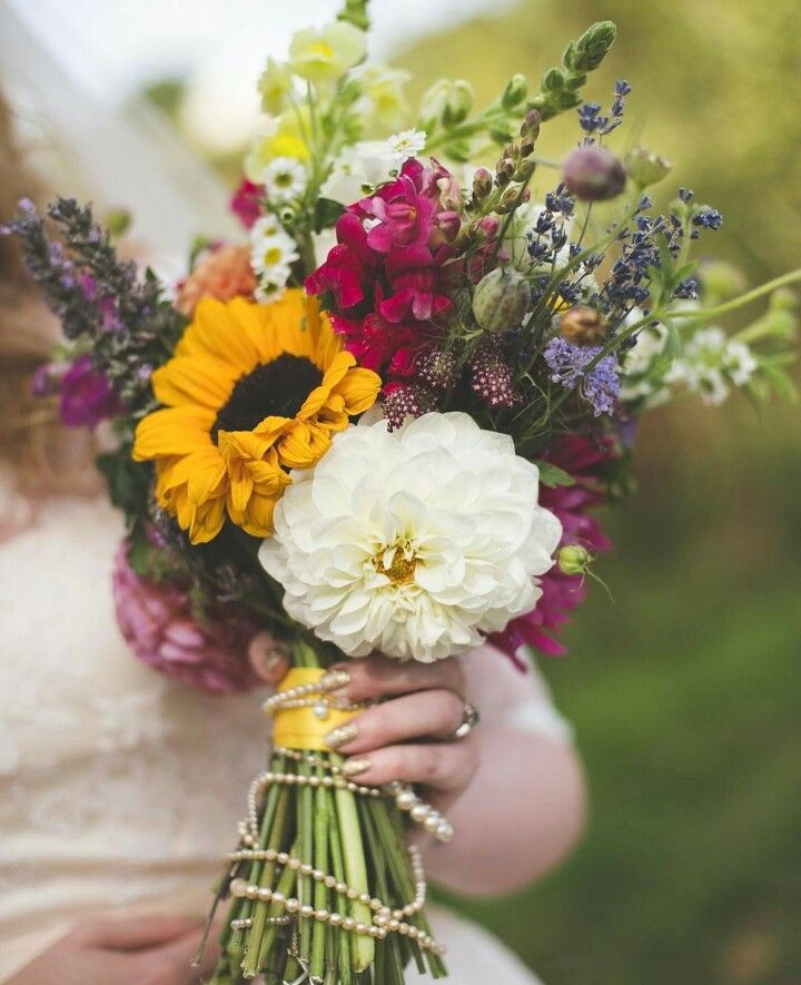 "Beautiful Hand Tied ""Wildflower"" Style Wedding Bouquet Arranged With: Sunflowers, Snapdragons, Asters, Lavender + Additional Florals & Foliages"