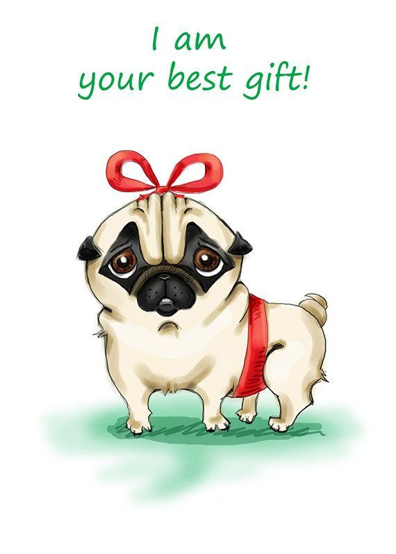 Pug Printable Greeting Card Instant Download 5 X 7 Jpg File I