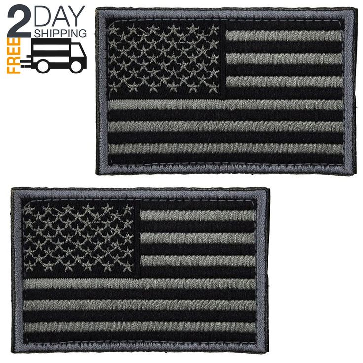 2 pcs Tactical USA Flag Patch Black Gray American Flag US United States Military | eBay