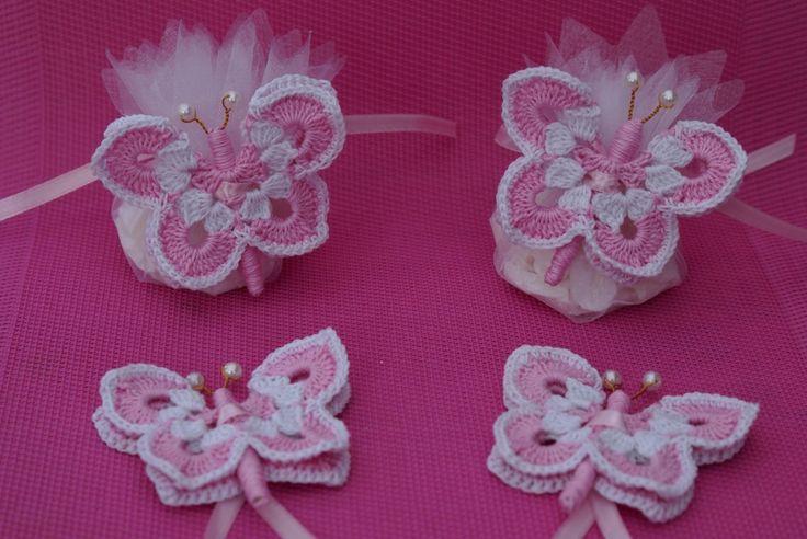10 porte dragées papillon rose, blanc pour mariage, baptême,