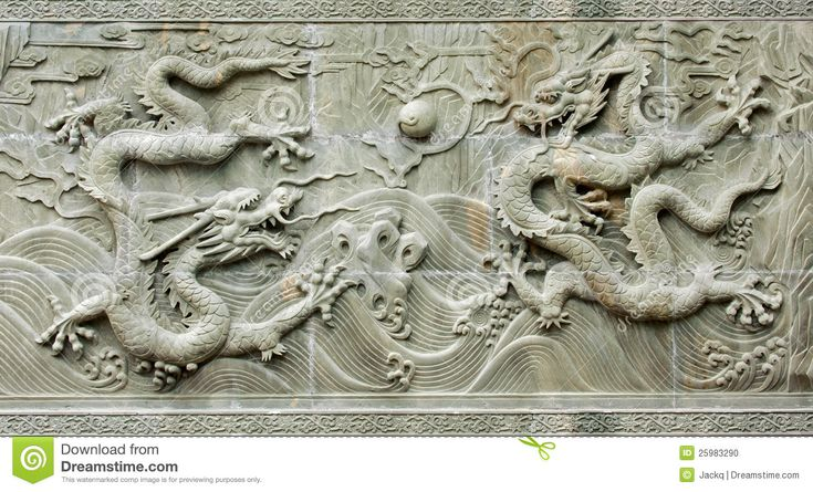 Stock Photo: Chinese traditional dragon s relief