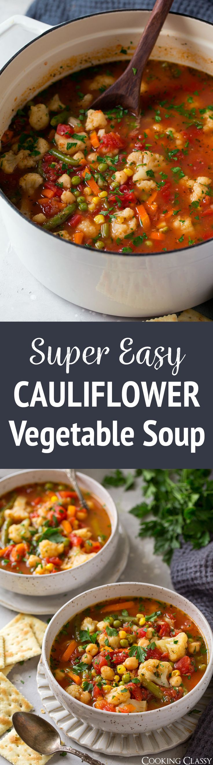 Super Easy Cauliflower Vegetable Soup - this vegetable soup is about as easy as it gets! Most of the veggies are pre-cut so the tedious part is already done. Perfect for busy days and those dreadful sick days. It also makes great leftovers for lunch.  via @cookingclassy