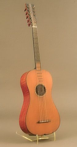 The Rawlins, by Antonio Stradivari, Cremona, 1700. The Rawlins guitar is one of four documented guitars made by the famous Italian craftsman known to survive. The others are preserved in the Ashmolean Museum at Oxford University in England; the Musée de la Musique in Paris; and in a private Italian collection. The Rawlins has five double strings, typical of the 17th century, rather than the six single strings found on modern guitars. It is also smaller than today's instruments.