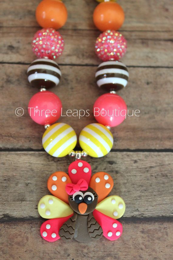 Thanksgiving Chunky Bead Necklace with Turkey Pendant