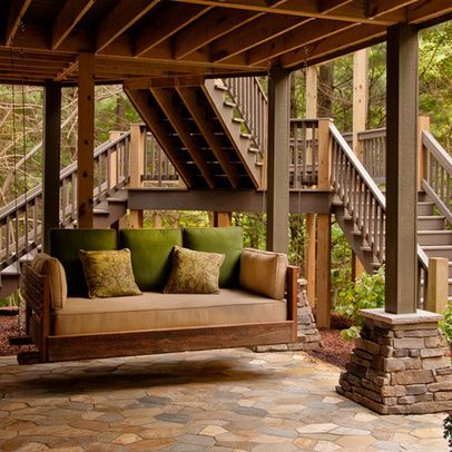 Amazing Elevated Deck With Dual Staircase And Underdeck Patio. | Houzz.com