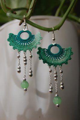 Green Fan Crochet Earrings ~ Inspiration!