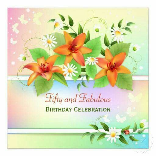 50th Birthday Invitations Custom Wedding Summer Lily Rsvp Floral Greeting Cards Masquerade