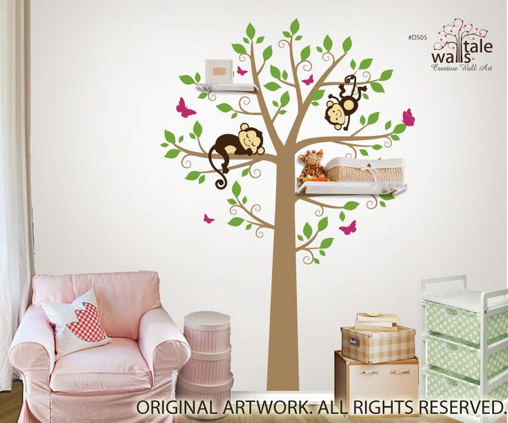 large tree wall decal with monkeys and butterflies for nursery suitable for shelves - Diy Entfernbarer Backsplash