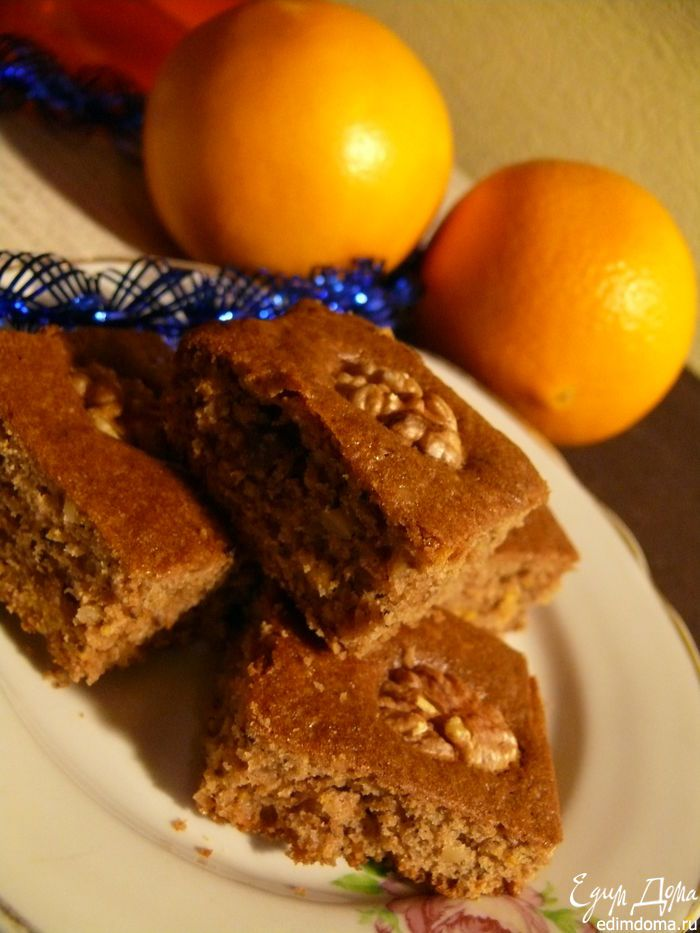 Апельсиновые брауни с грецкими орехами | Кулинарные рецепты от «Едим дома!»