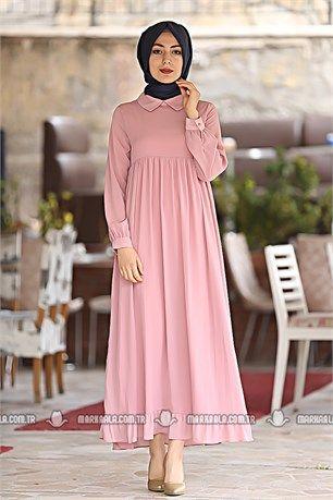 Meri Store - Tesettür Elbise - Eteği Fırfırlı - 2550 - Pudra