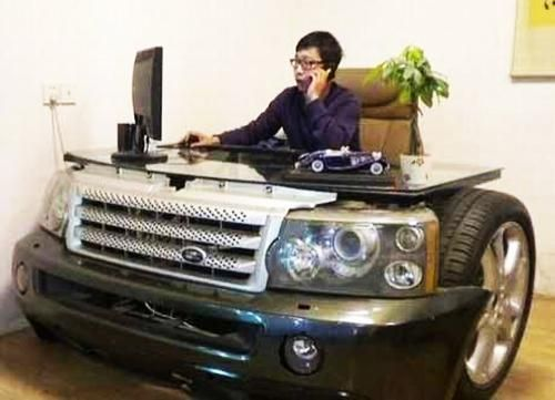 recycling old car parts for unique furniture, office desk... WOw dude... I mean... I guess. If you like it, I love it