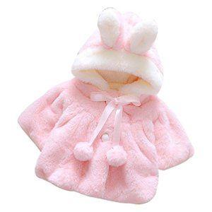 Enfant Bébé Fille 3D Oreilles de Lapin Capuchon Doux Chaud en Coton Veste d'Hiver Épais avec Dande Manteau à Chapeau pour Nouveau-né…