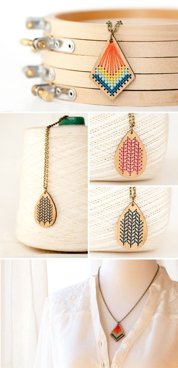 Embroidered bamboo pendants by Red Gate Stitchery