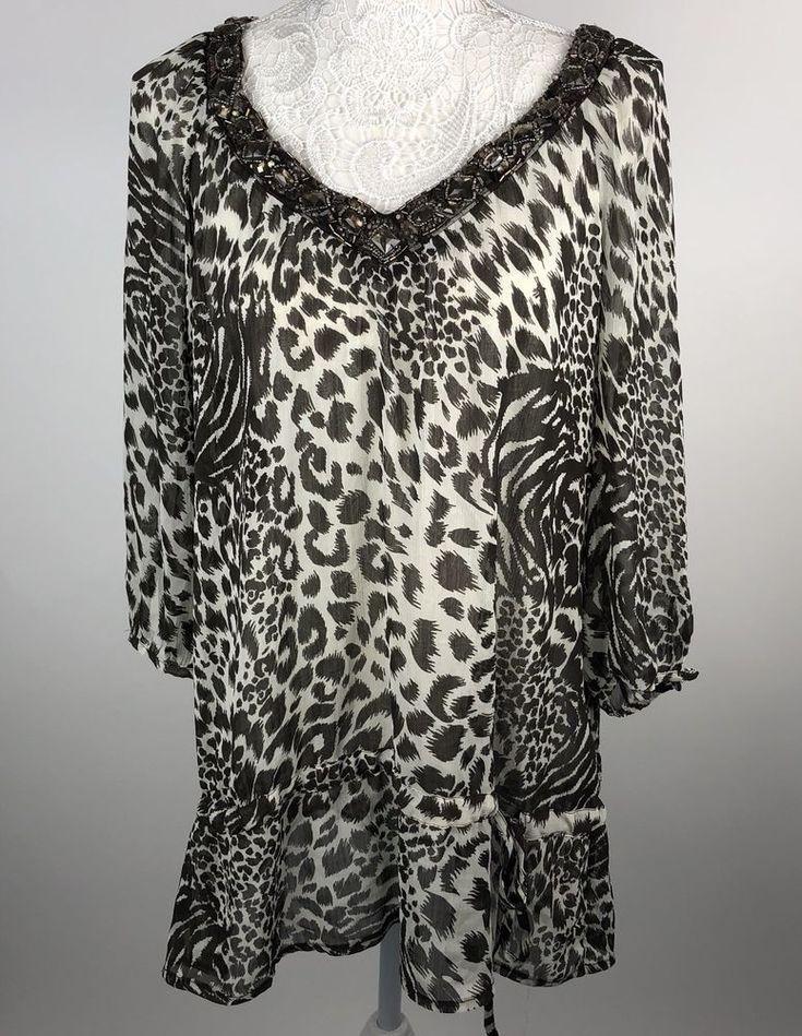 Ladies Julian McDonald Tunic size 16 designer Jewel leopard Top Star Sheer    eBay