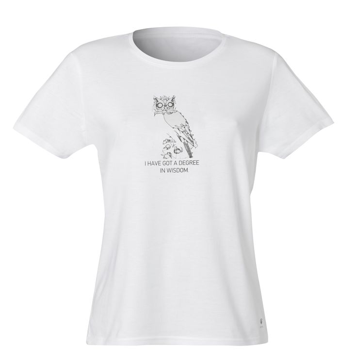 """T-Shirt Owl. Material 100% Cotton. """"I have got a degree in wisdom""""."""