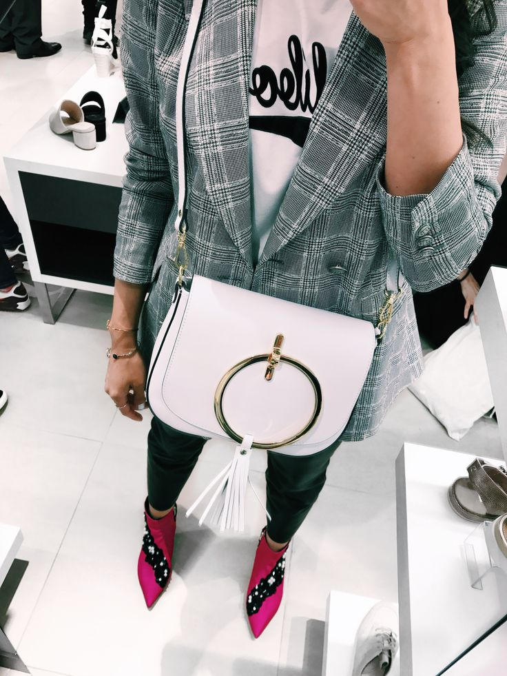 Tezyo white bag and Kurt Geiger pink booties