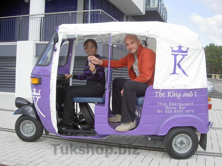 The KIng & I Restaurant take delivery of their new Bajaj tuk tuk from mrsteve at www.tukshop.biz