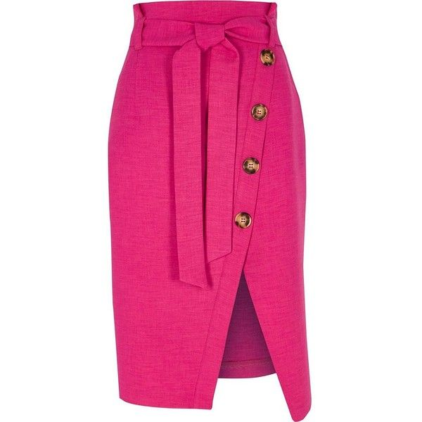 58ef5e9168 River Island Pink paperbag button front pencil skirt ($80) ❤ liked on  Polyvore featuring skirts, bottoms, midi skirts, pink, women, asymmetric  midi skirt, ...
