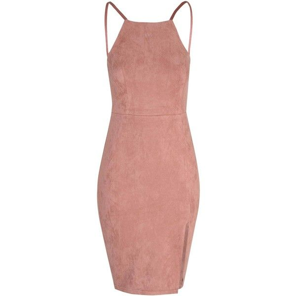 Dusty Pink Suede Bodycon Dress ($38) ❤ liked on Polyvore featuring dresses, pink, red body con dress, night out dresses, spaghetti strap dress, red cocktail dress and bodycon cocktail dress