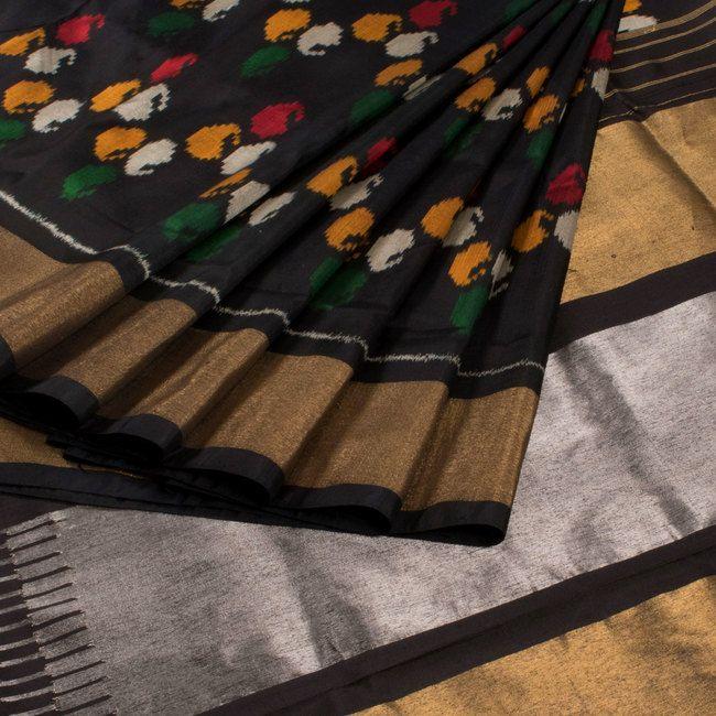 Sarveshi Handwoven Ikat Silk Saree with Tissue Border 10007270 - AVISHYA