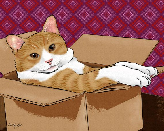 Cat In A Box Orange Tabby Cat 8x10 Pop Art Print by PopDogDesigns, $18.00
