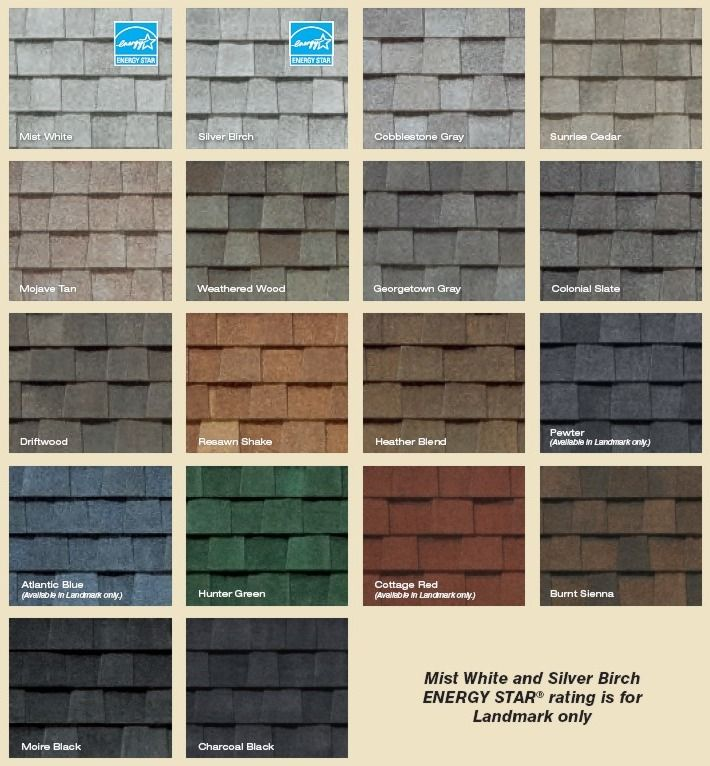 Landmark Series shingles colors