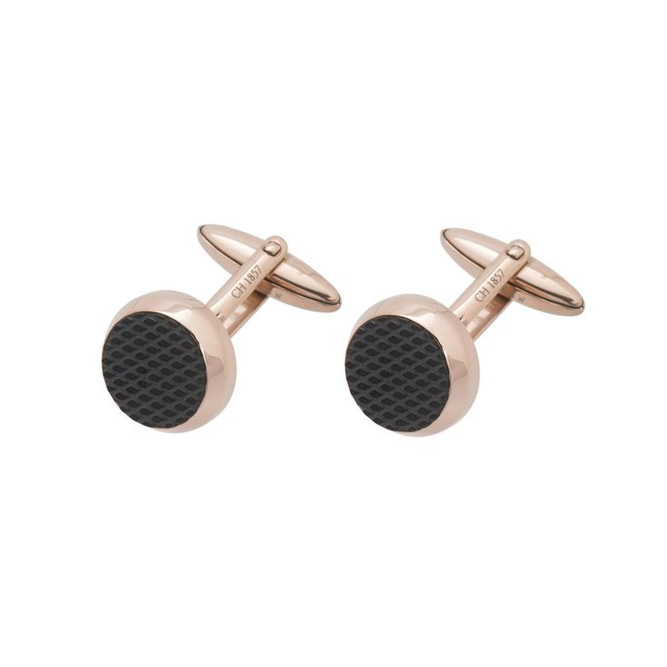 Gents Stainless Steel Rose Gold Coloured Cufflinks With Black Pad Detail