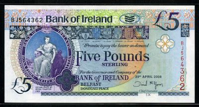 Banknotes of Ireland | £ 5 sterling note issued by bank of ireland in northern ireland