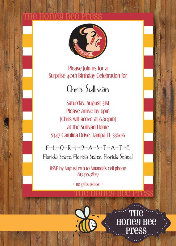 Florida State Birthday Party Invitation - FSU Tailgate - National Ch&ionship ACC Ch&ionship Party invitation - Item 0066FSU  sc 1 st  Pinterest & 264 best FSU Tailgate/Parties images on Pinterest | Florida state ...