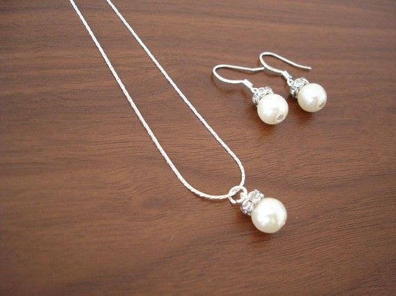 Bridesmaids?? Bridal Jewelry Set - Popular Fancy Single Pearl Earrings & Necklace, bridal wedding jewelry on Etsy, $19.50