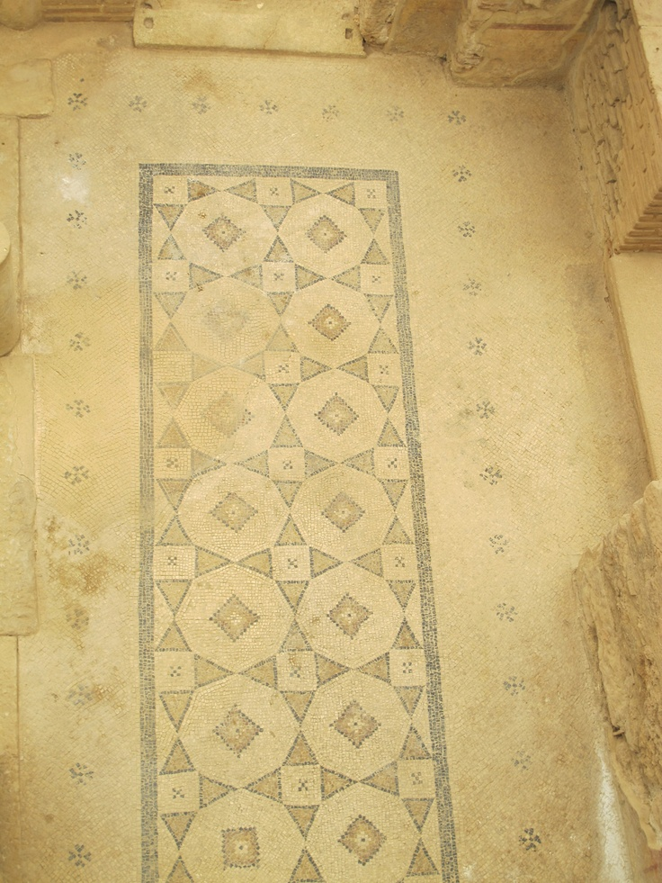 8-point star pattern in marble mosaic floor - terrace house, Ephesus
