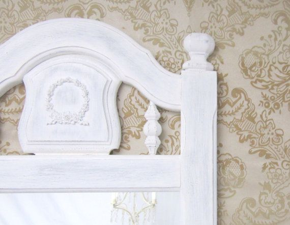 "DECORATIVE VINTAGE MIRRORS For Sale Vintage White Mirror 49""x20"" Full Length Shabby Chic Nursery French Country Wall Mirror on Etsy, $196.00"