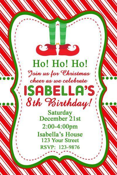 Elf Feet Christmas Birthday Party Invitation by DazzelPrintz
