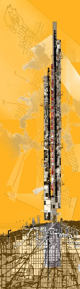 Architecture Portfolio - Derek Pirozzi - University of South Florida School of Architecture. Masters of Architecture. Graduate Work. Vertical Mapping. Vertical Speculation for Chicago.     derekpirozzi.com