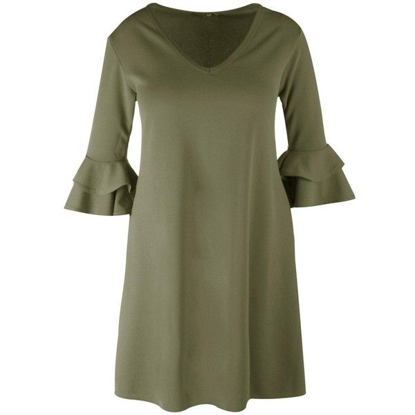 Boohoo Plus Grace Crepe Ruffle Sleeve Shift Dress (44 PEN) ❤ liked on Polyvore featuring dresses, bodycon maxi dress, shift dress, green bodycon dress, jersey maxi dress and party maxi dresses