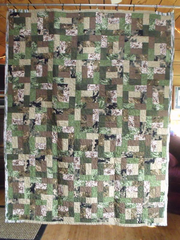 Camo fabric with Lava Flow pattern quilt. For my boys!