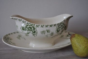Antique French Shabby Chic Saucière or Gravy Boat by La Manche traditional serveware