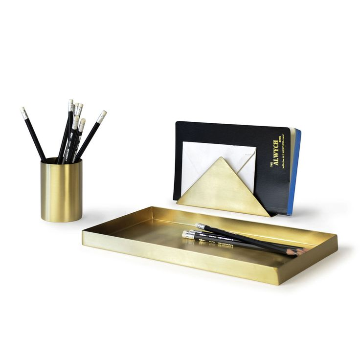 A brass tray designed by Ferm Living - the perfect way to add a bit of luster to your office with this solid brass pencil tray with a matte-polished finish.