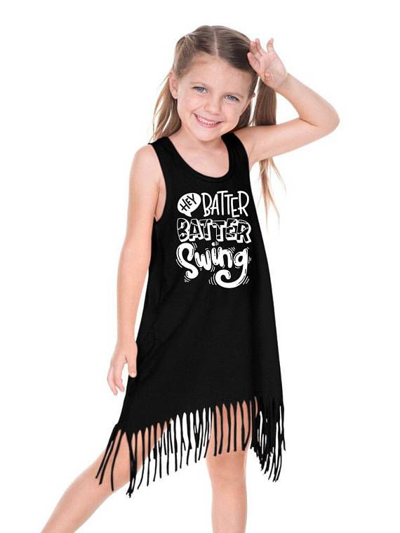 Hey batter batter swing  baseball dress fringe dress toddler #fringedress #bohodress www.followyourarrowshop.etsy.com