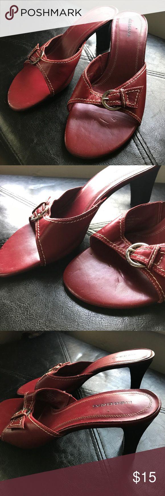 Red heel sandals 11 Size 11, open back sandals heels Merona Shoes Sandals