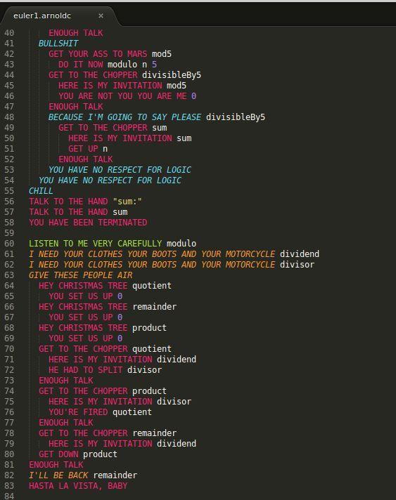 Язык программирования основанный на цитатах А.Шварцнейгера
