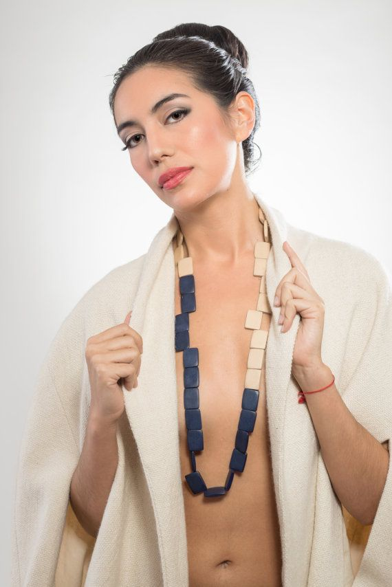 Long rectangular wooden necklace natural and navy by LauraRosa