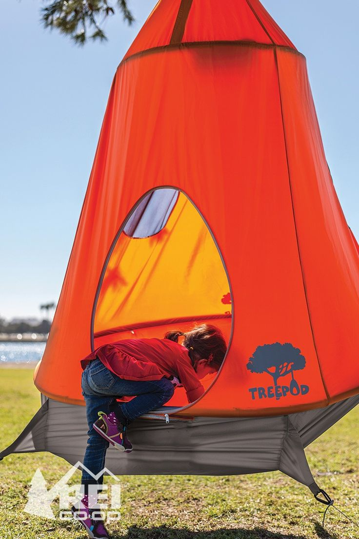 Enjoy the magic of a tree fort at your campsite or in your backyard. Climb inside the TreePod tent to take naps, read books, play games—it'll hold 3 kids or 2 adults (up to 500 pounds). The durable, weather-resistant fabric sheds rain, and a UV-resistant coating protects against the sun.