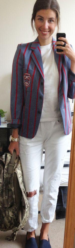 ZARA White Boyfriend Jeans, Hanes White T-Shirt ,  Camo Backpack, Primark Men's Slip-On Trainers, Vintage Striped Blazer
