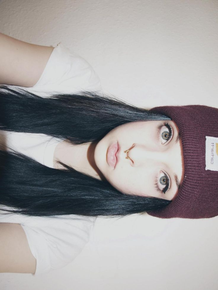 Dark blue hair beanie and septum ring.... Everything I want!