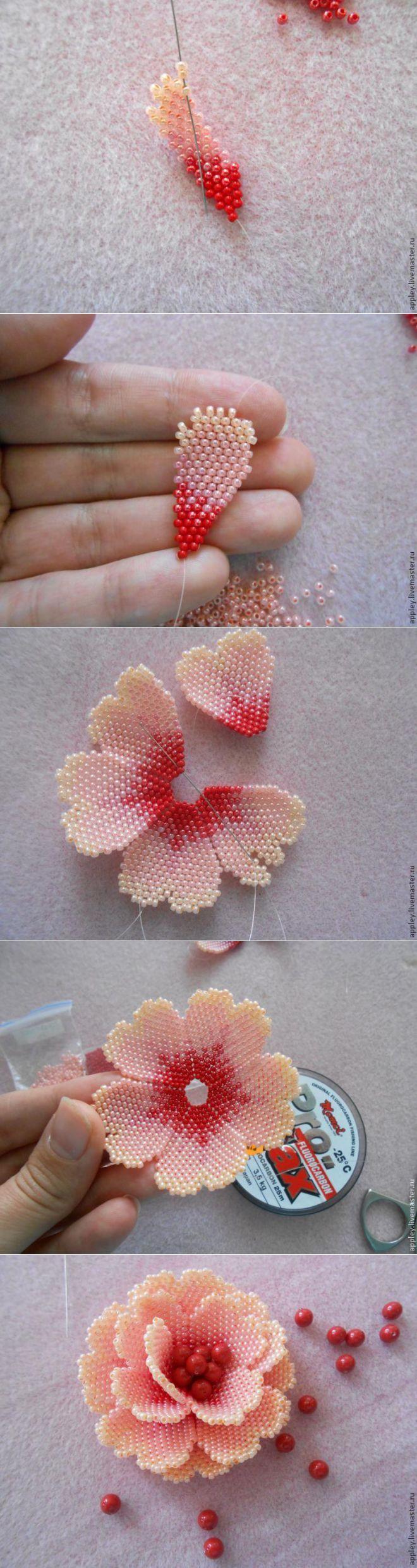 Bead flower tutorial | Как сделать маленький цветок из бисера - Ярмарка Мастеров - ручная работа, handmade