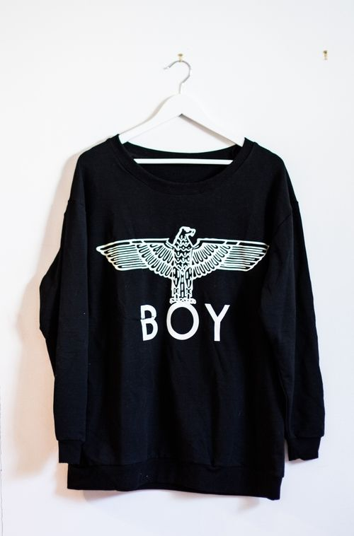 BOY LONDON and its comfy sweater. -- more than anything I want a Boy London crew neck for Christmas!!