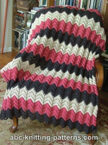 Lace ripple crochet blanket