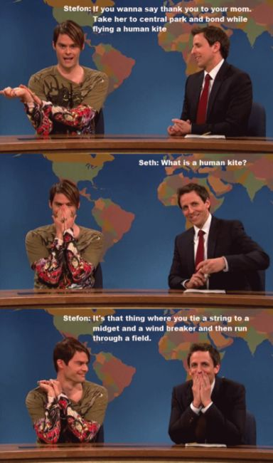 Watching Seth Meyers trying not to laugh is totally worth staying in on a Saturday night! - SNL